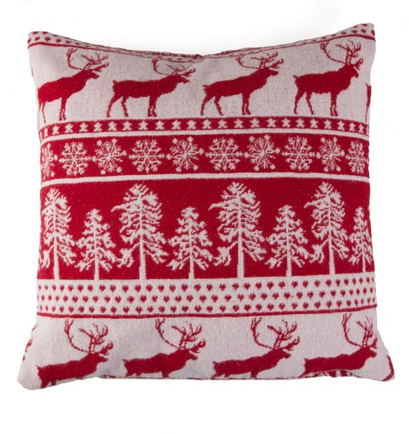 Reindeer Cushion Knitting Pattern : Large Red Knitted Reindeer Cushion Winter Christmas