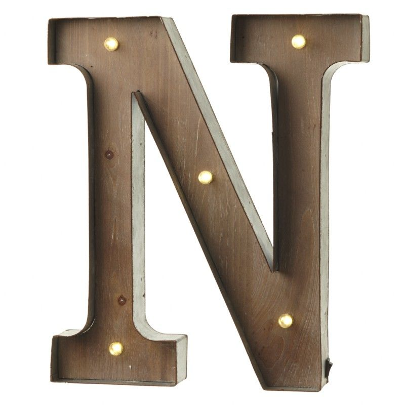 Reduced LED Light Up Wood & Metal Carnival Letter N