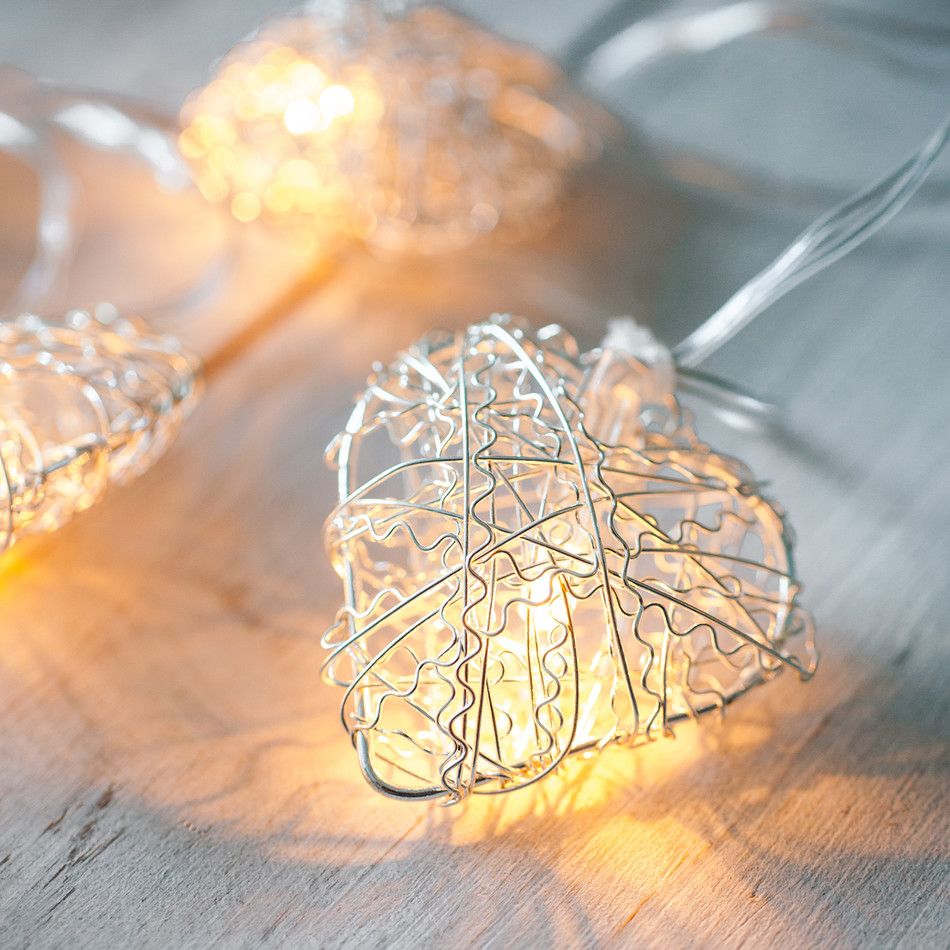 10 Led Silver Metal Mesh Heart Battery Operated Fairy Lights