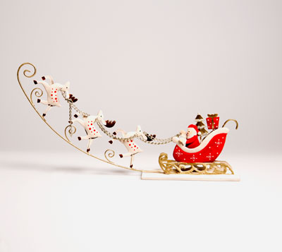 30% OFF Santa's Sleigh Red Metal Decoration
