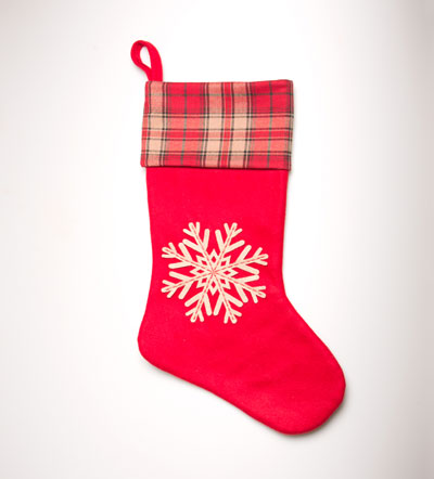 50% OFF Red Snowflake Tartan Christmas Stocking
