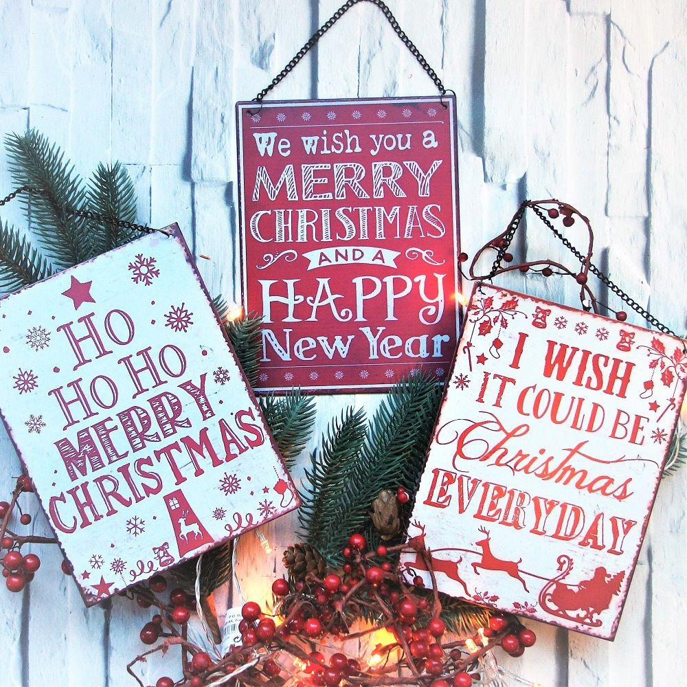 Christmas Signs.A5 Sized Vintage Hanging Metal Christmas Signs