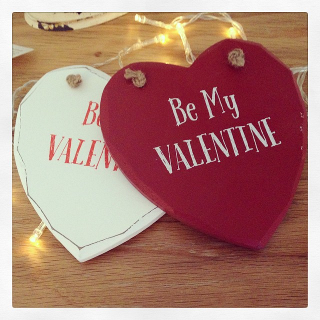 Be My Valentine Heart Plaque Red & White