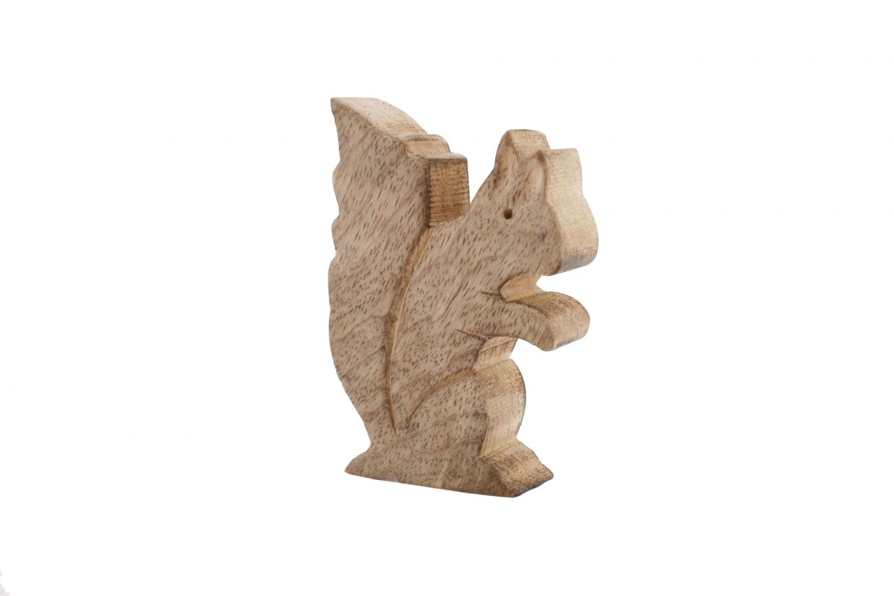 Carved Wood Standing Squirrel