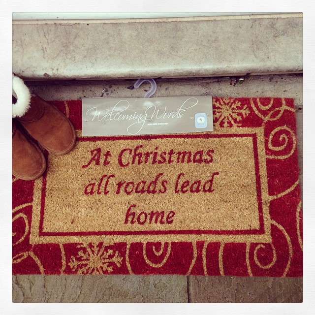 Coir Doormat At Christmas All Roads Lead Home