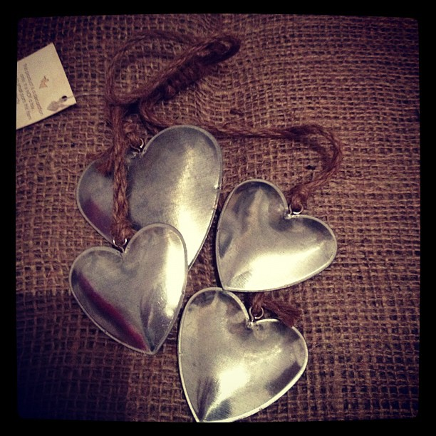 Four Hanging Tin Hearts