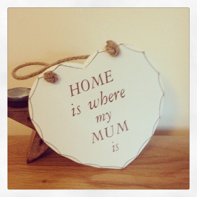 Home Is Where My Mum Is Hanging Wooden Heart