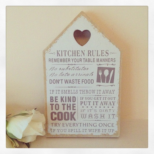 Kitchen Rules Wooden House Shaped Plaque