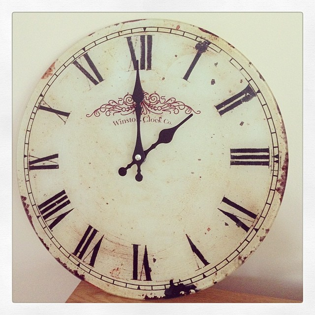 Large Vintage Rustic Glass Wall Clock
