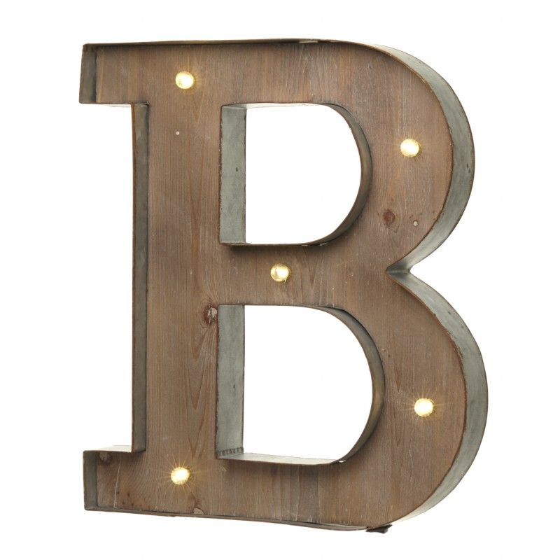 Industrial Style Light Up Letters: LED Light Up Wood & Metal Carnival Letter B