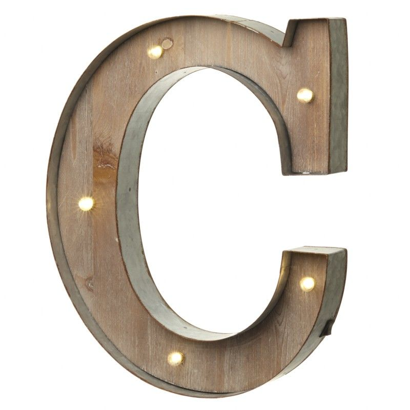 Industrial Style Light Up Letters: LED Light Up Wood & Metal Carnival Letter C