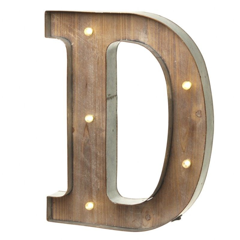Led Light Up Wood Amp Metal Carnival Letter D