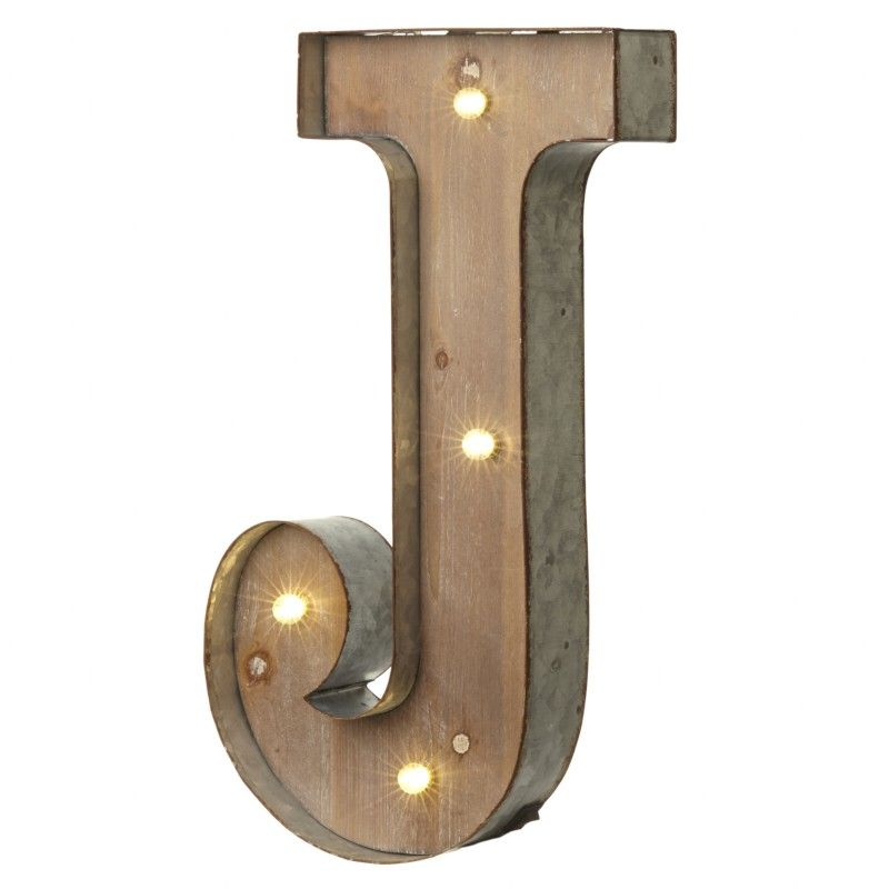 Industrial Style Light Up Letters: LED Light Up Wood & Metal Carnival Letter J