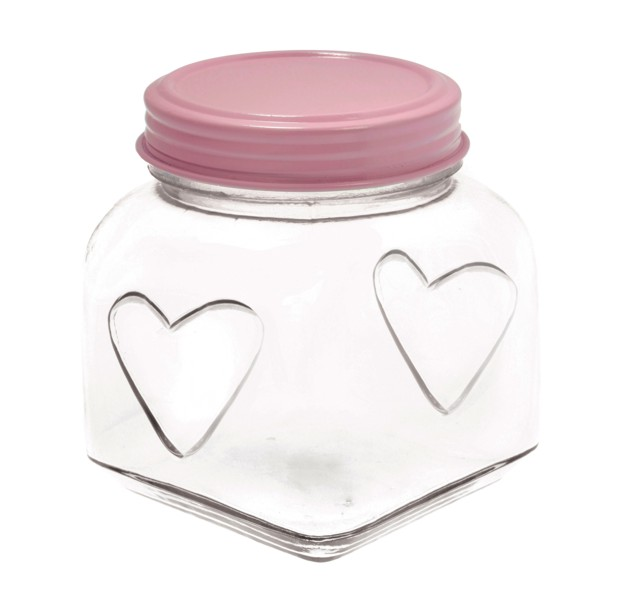 Medium Storage Jar With Heart Pastel Pink