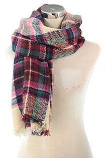 over 50% off MULTI-COLOURED FRAYED CHECK PRINT SCARF - REDUCED
