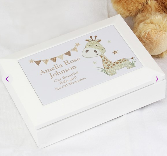 Personalised Hessian Giraffe Wooden Jewellery Box