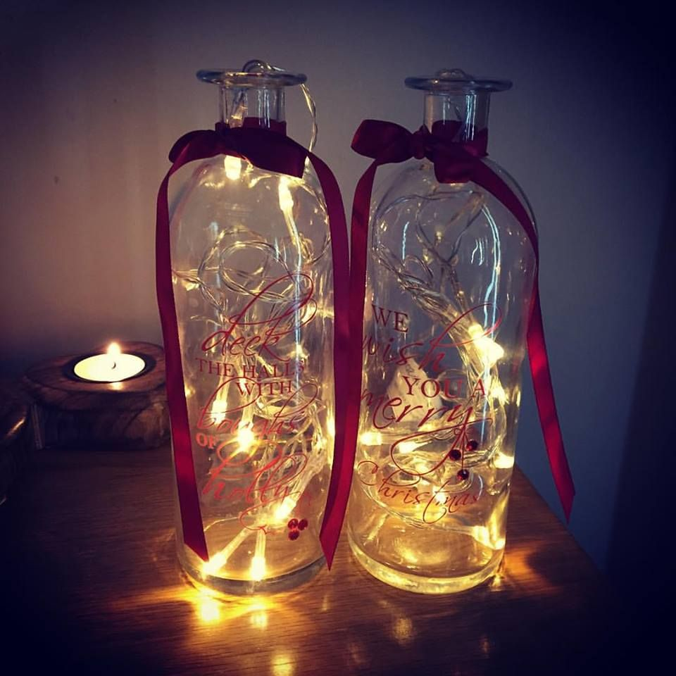 Set Of 2 Vintage Tall Christmas Script Glass Jar Vases Amp 2