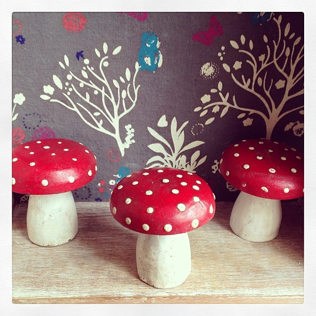 Set of 3 rustic red wooden toadstools for Homewares decorative items