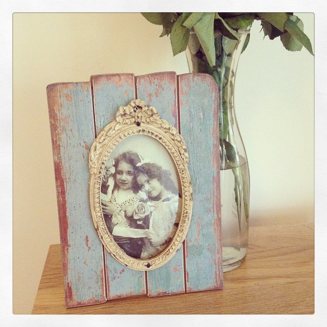 Shabby Chic Distressed Wooden Panelled Photo Frame With Mount- Duck Egg