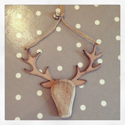 Wooden Hanging Stag Head With Bell